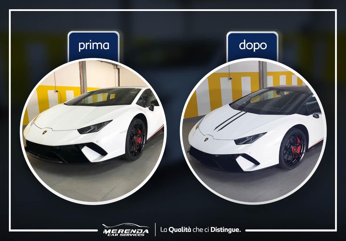 Wrapping Nero Opaco tetto particolari su cofano Lamborghini Huracàn